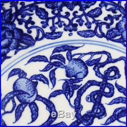 Rare Chinese Porcelain Blue And White Peaches Plates YongZheng Marked AB235