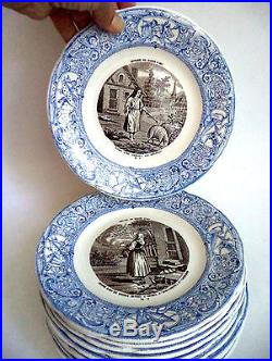 Rare Complete Set Gien France Joan of Arc Blue White Transferware Plates Faience