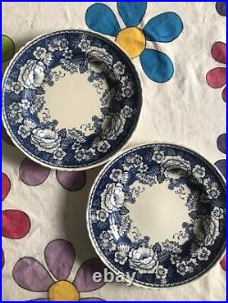 Rare Crabtree & Evelyn Blue & White Masons Ironstone England Dinner Plates X Two