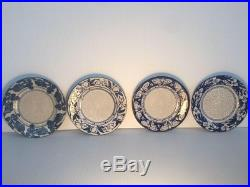Rare Dedham Pottery Moth 6 Plate Blue/white Crackled Glaze Mint