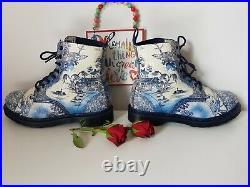 Rare Dr martens 1460 Willow China Plate Pascal shoes blue white UK 8 EU 42 US 10