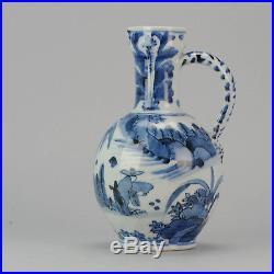 Rare Large Antique 17th Blue & White Arita Jug Japanese Porcelain Figures Japan