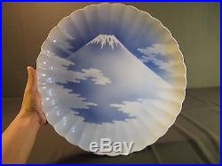 Rare Large Japanese Meiji 19th Century Blue White Mt. Fuji Scallop Rim Imari 15