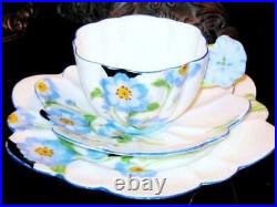Rare PARAGON ANEMONE FLOWER HANDLE CUP SAUCER & PLATE TRIO Hand Painted