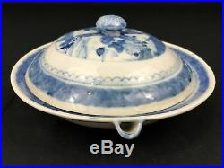 Rare Qing Dynasty Blue & White Warming Plate with LID (#85)