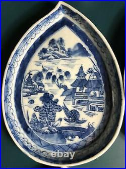 Rare Set of 12 Chinese Export Blue & White Leaf-form Porcelain Dishes Qianlong