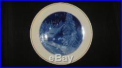 Rare Signed Meissen Blue & White Cobalt Porcelain Wall Plate Winter Night 1954