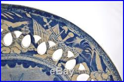 Rare'neptune' Or'the Apotheosis Of Nelson' Pattern Blue & White Pierced Plate