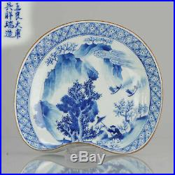 Rarity 20C Chinese Porcelain Blue White Plate Mountains Figures Marked