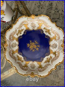 Reichenbach Blue Cobalt Large Plate Gold Gilded With Flowers. Gorgeous