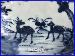 Relist Antique Chinese 18th Qing Blue & White Serving Plate with Deers 32CM