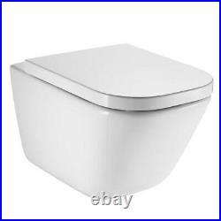 Roca Frame + Flush Plate + Roca Gap Rimless Wall Hung Toilet Pan Soft Close Seat