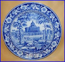 Rogers Pearlware Blue & White Boston Statehouse Dinner Plate C1820
