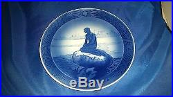 Royal Copenhagen Plate Denmark Blue White The Little Mermaid At Wintertime 1962