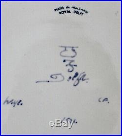 Royal Delft Porceleyne Fles Blue & White Floral 16 Wall Plate Charger