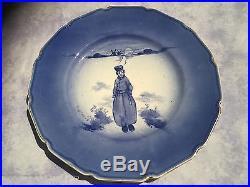 Royal Doulton BURSLEM DUTCH BOY PLATE blue & white RARE 10inches 1905 holland