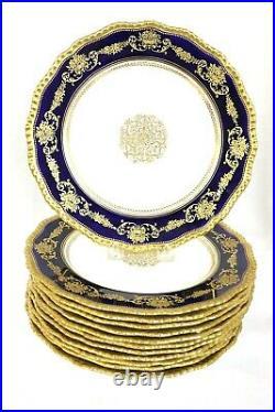Royal Doulton Burslem Cabinet Plates, 12, Raised Gilding, Beaded Cobalt Blue