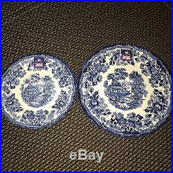 Royal Wessex Queens by Churchill Blue White Dinner Salad Plates Set 12 NEW