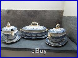 Royal Worcester Tureens Set 3 Blue & White Elephant Handles Under Plates 1880s
