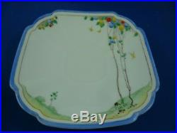 SHELLEY Queen Anne TREES & BALLOONS BLUE Cup, saucer & plate RD723404 Pat 11829