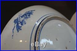 #SH-art ANTIQUE JAPANESE BLUE & WHITE inban PORCELAIN PLATE, MEIJI 15 in LARGE