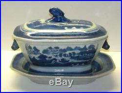 SMALL QING CHINESE EXPORT TUREEN CANTON BLUE WHITE PORCELAIN With UNDER PLATE 7