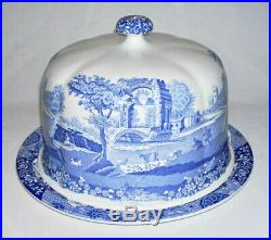 SPODE Beautiful Blue & White Round DOMED CHEESE PLATE (Blue Italian) England