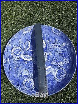 SPODE Platter, Blue and white China, Floral Chintz, Round Serving Bowl Plate