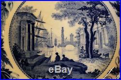 Set 10 Georgian Wedgwood Blue/White Pearlware Claude Pattern Plates c. 1825-30