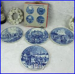 Set 4 DELFT blue white pottery 4 seasons plates wall hanging original box