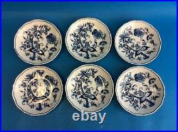 Set 6 Vintage Blue White Blue Danube Floral Pattern Small Serving Plates Bowls