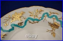 Set 8 Enamel Gilt Flower Minton Dinner Luncheon Plates for D. B. Bedell 9 C1910