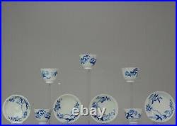 Set Antique 19th C Japanese Porcelain Edo/Meiji Arita Blue White Tea Bowls