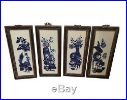 Set of 4 Antique Chinese Blue & White Pottery Panels Four Seasons