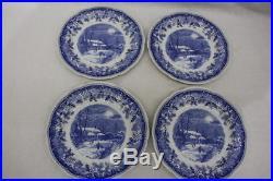 Set of 4 Spode WINTER'S EVE BLUE & White #S3755-A6 10.5 Dinner Plates, England