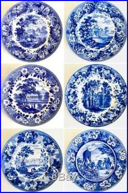 Set of 6 Limited Edition Wedgwood Queens Ware Blue & White Collection Plates