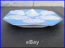 Set of 6 Octagon 6-Well Oyster Plate Pink Blue Yellow White withGold Trim Seafood