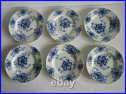 Set of 6 Russian Lomonosov Fine China Blue White Gold 9.5 Dinner Plates