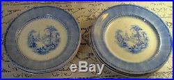 Set of 8 Antique Circa 1840 Blue & White English Plates Chinese Villa Nice