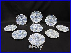 Set of 9 Antique 19th Century Chinese Export Blue & White 6 6.5 Plates