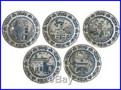 Set of Five Wedgwood Blue & White Yale University Collectible Dinner Plates