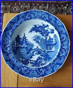 Set of Six Perfect Antique. 1810 Blue & White Soup Plates Pearlware Chinoserie