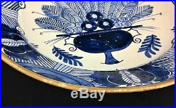 Signed Dutch Delft Peacock pattern Charger Blue White Wall Plate 13.75 18th C