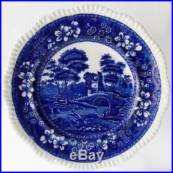 Six (6) Antique Spode Blue Tower Gadrooned Dinner Plates Blue And White English