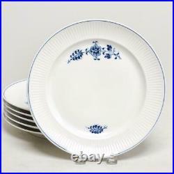 Six (6) Royal Copenhagen Blue/white Fluted Dinner Plates, 14058, 9.75