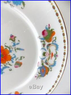 Six Magnificent Vieux Chine French Limoges Dinner Plates Orange Blue White