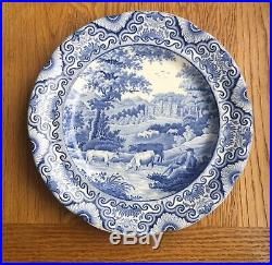 Staffordshire Transferware Blue & White Cattle & River Pattern Plate Rare Marked