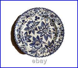 Staffordshire Transferware Blue & White Spode Clobbered Gold Plate Impressed