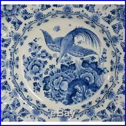 Stunning Antique Hand Painted Blue & White Delft Plate Charger by Ram, A Peeters