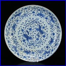 Superb Chinese Yuan Dynasty Blue & White Porcelain Plate w Phoenix